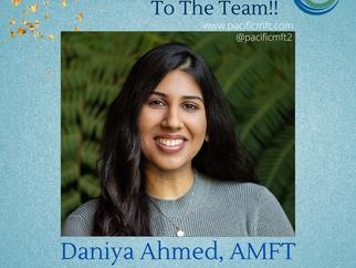 Welcome to the Team - Daniya Ahmed, AMFT