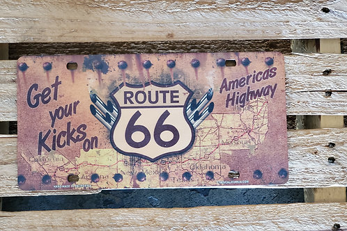 Wooden Sign Route 66 USA Flag Arizona License Plate