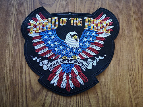 "Big Back Patch Land Of The Free - iron on - 11.0"" x 10.5"""