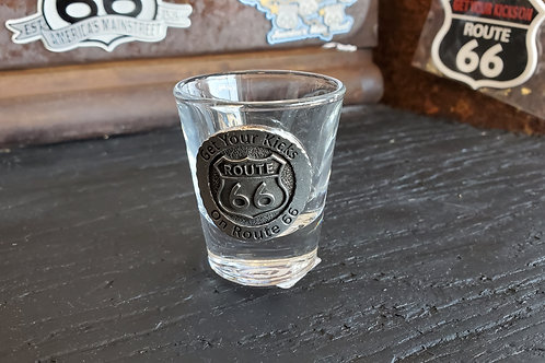 Shot Glass Route 66 Metal sign coin style