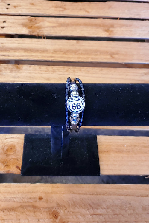Jewelry Leather + Stainless Steel Bracelet Route 66