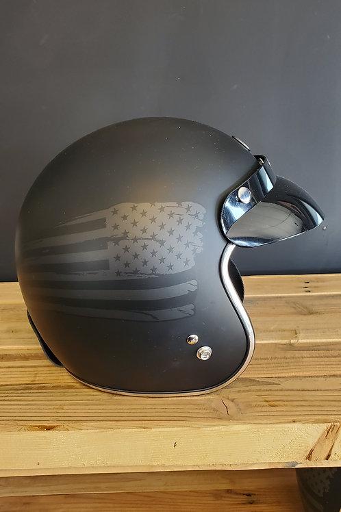 Torc 3/4 Face Helmet flat American T Face Flag black