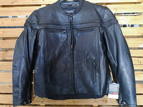 Motorcycle Jacket - Leather - Protection Elbow+Back - black
