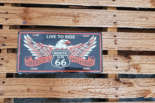 Route 66 Sign License Plate Live to Ride