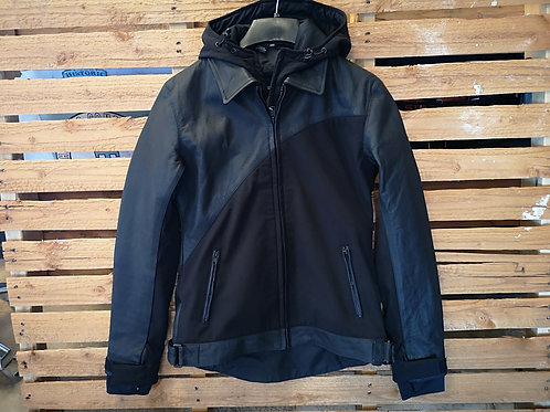 Motorcycle two in one hoodie Jacket - Soft-shell/Leather style - black