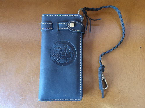 """Wallet -security leather band clip - black - Money Zipper - Card slots 7""""x4"""""""