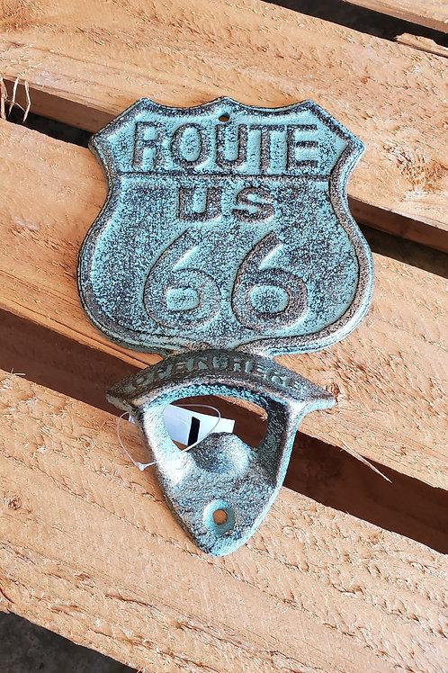 Route 66 Wall Bottle Opener Metal