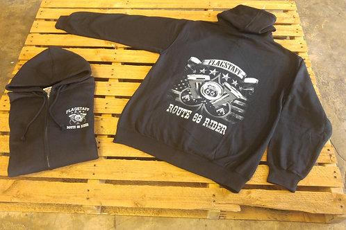 Route66Rider hoodie engine longsleeve black left chest/back print