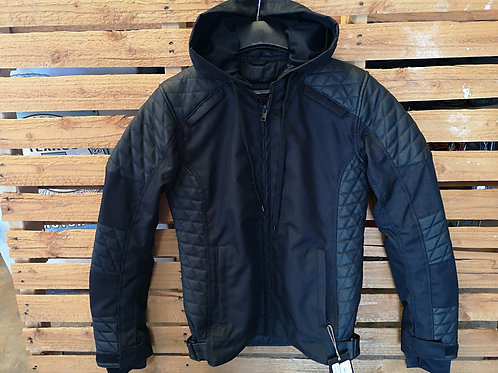 Motorcycle hoodie Jacket - High quality Canvas and Full grain Leather - black