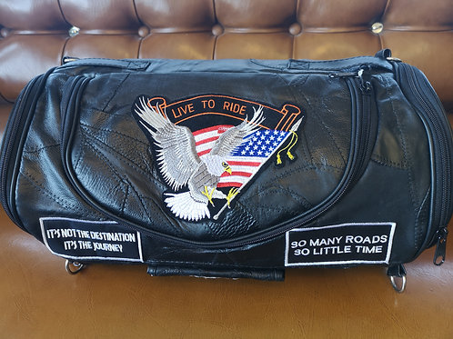 Motorcycle carry on bag - sissy bar bag - buffalo leather - patches on
