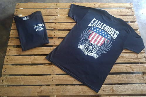 Eaglerider Flag and Bike T-shirt black left chest/back print