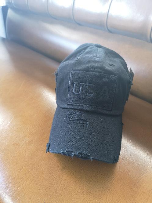 USA Vintage Base Cap black applications adjustable