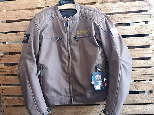Motorcycle Jacket - Leather+Canvas - Protection Elbow+Back - brown