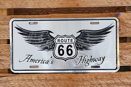 Metal Sign Route 66 USA Flag Arizona License Plate