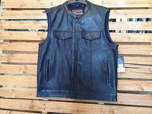 Vest - Leather - High Quality - black - Biker Vest