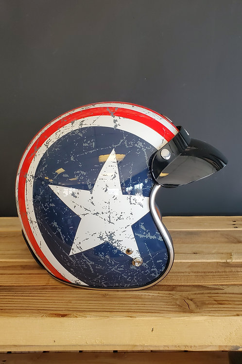 Torc 3/4 Face Helmet American Rebel Star glossy