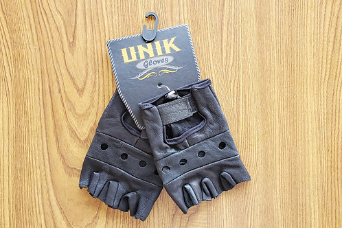 Leather Gloves High Quality Motorcycle black fingerless