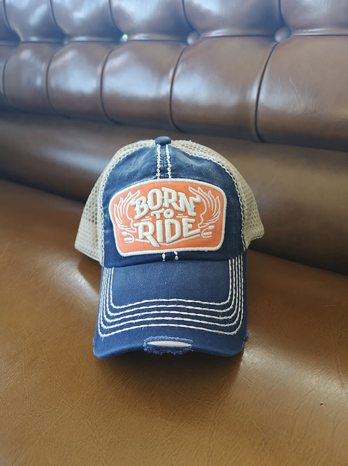 Born to Ride Base Cap blue/orange applications adjustable