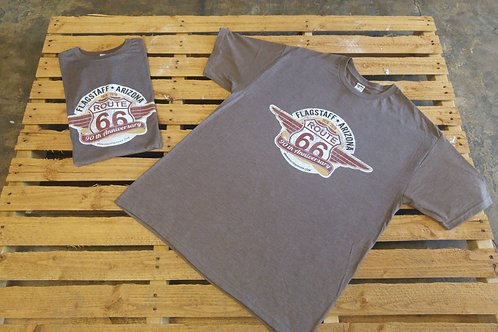 Route66 anniversary T-shirt brown front print