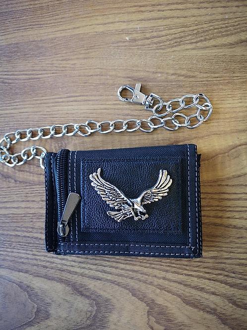 Wallet -security chain clip - black - Money Zipper - Card slots - Eagle