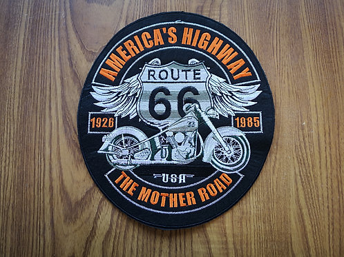 "Big Back Patch America's Highway The Mother Road - iron on - oval 9.0"" x 9.5"""