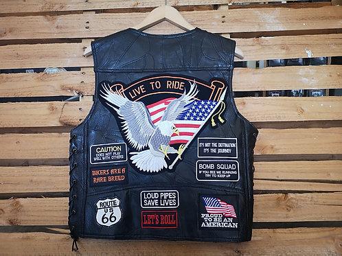 Fully patched vest - genuine buffalo leather - black - Biker Vest