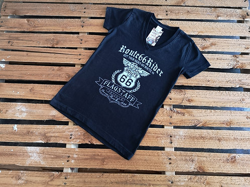 "Route 66 Rider Logo ""American Wipes"" V Neck T-Shirt black"
