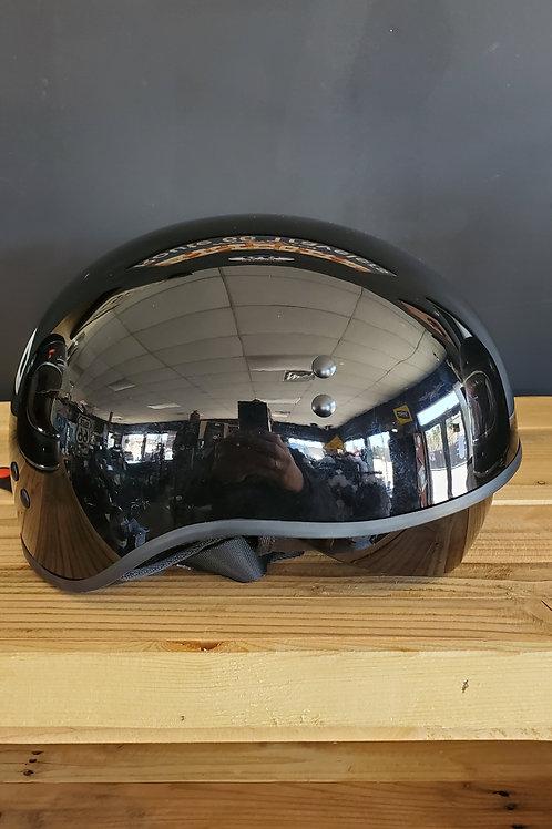 Torc Half Face Helmet glossy T Face black integrated visor