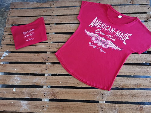 """American Made"" T-Shirt round neck red"