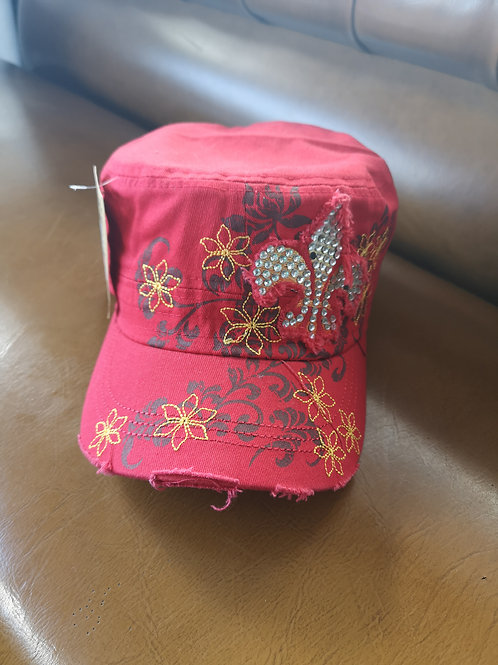 Flower Star Base Cap red applications adjustable