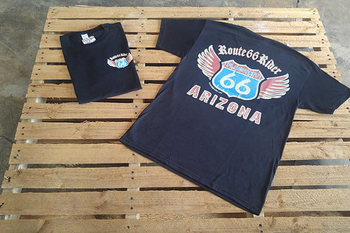 Route66Rider wings T-shirt black left chest/back print