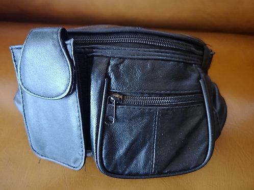 Belly Bag -leather - black - Money Zipper - Card slots - CellPhone