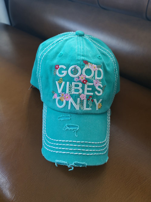 copy of Good Vibes Only Base Cap turquoise applications adjustable