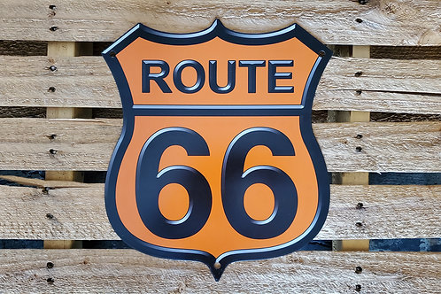Metal Sign Shield Route 66 USA Flag