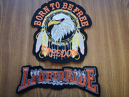 """Big Back Patch Combo - iron on - 11.5"""" x 10.5"""" + 12.5"""" x 4.0"""""""