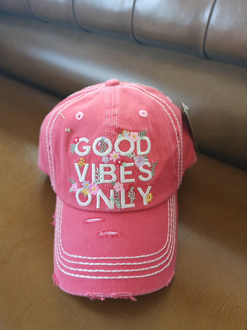 Good Vibes Only Base Cap rose applications adjustable