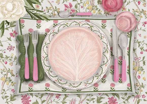 Floral Tablescape - Printable Dinner Invitation & Placecards