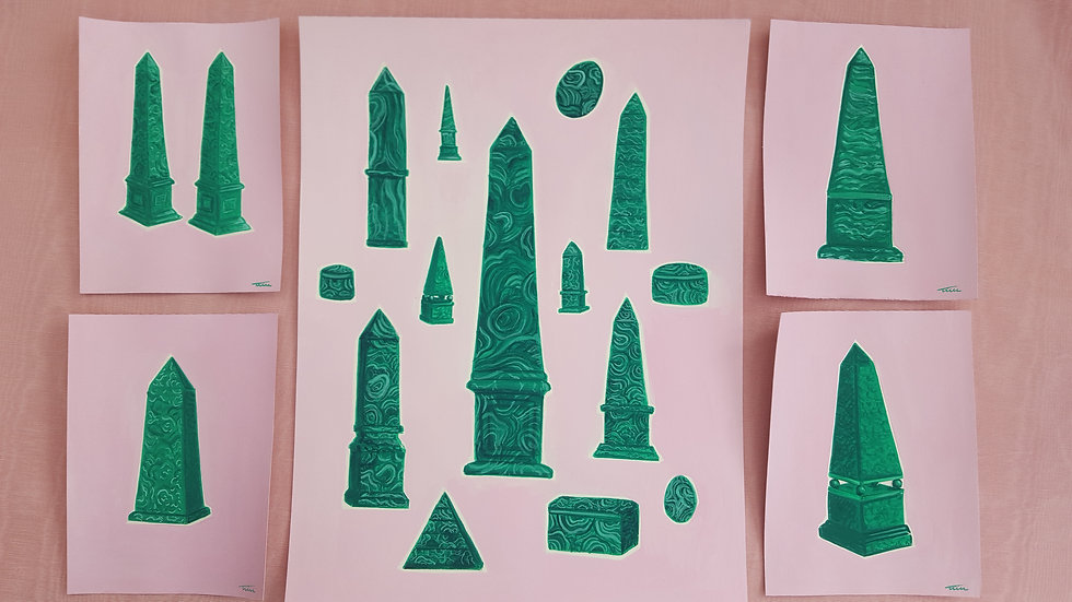 malachite obelisk painting