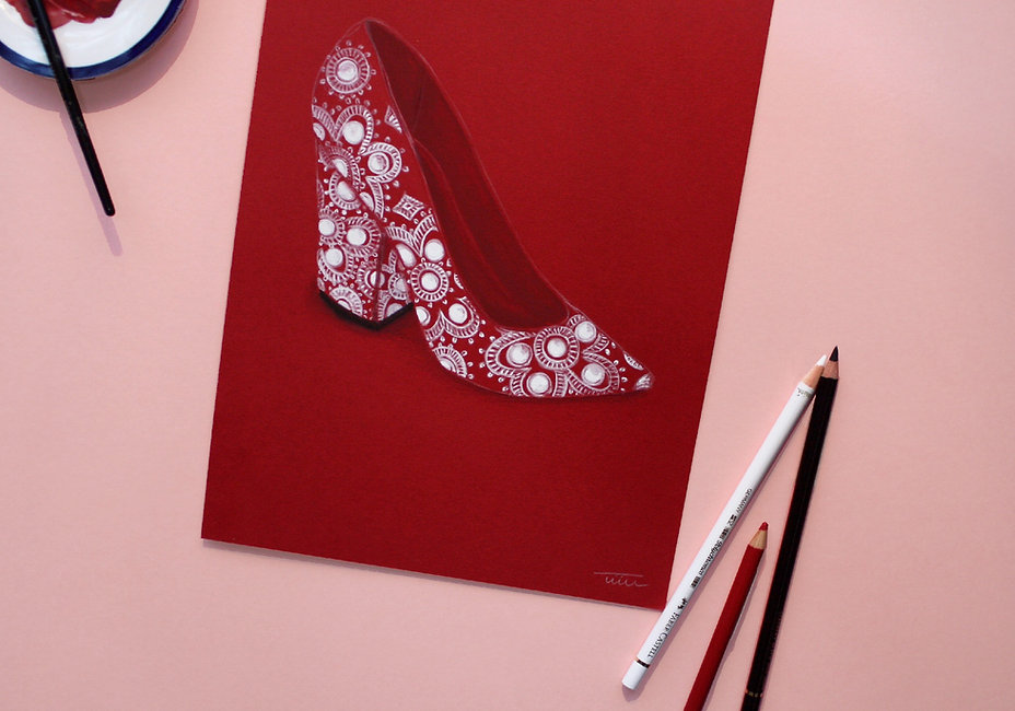 closeup of red shoe painting