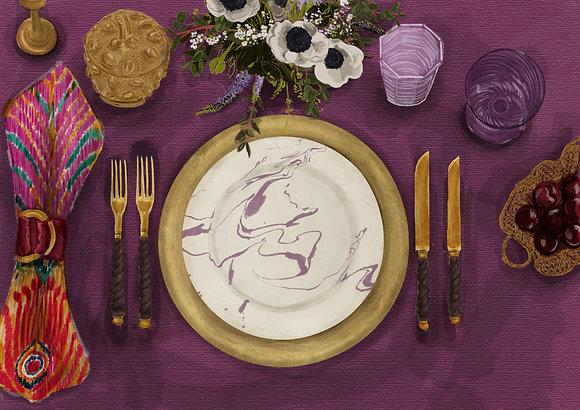 Purple Tablescape - Printable Dinner Invitation & Placecards