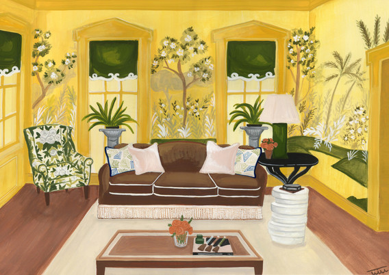 yellow Jared Hughes showhouse illustrati