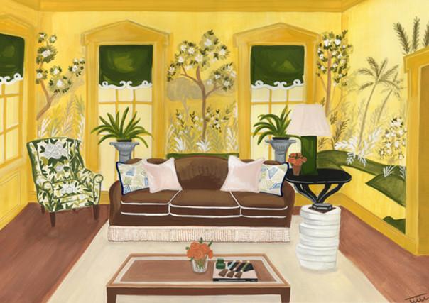 yellow Jared Hughes showhouse illustrati