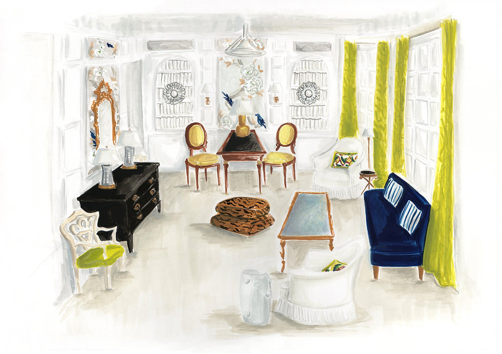 Paloma Contreras Kips Bay Showhouse Illustrated Rendering