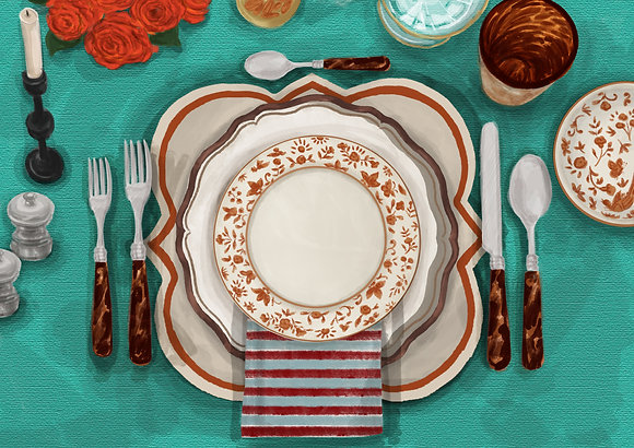Turquoise Tablescape - Printable Dinner Invitation & Placecards