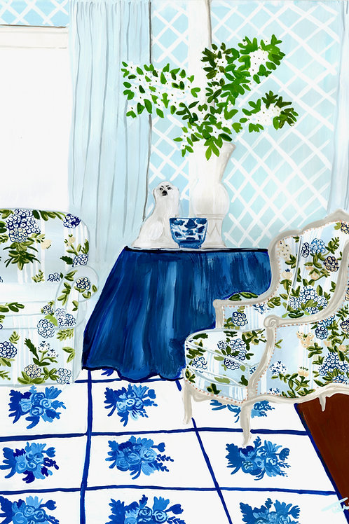Blue and Trellis Room Painting