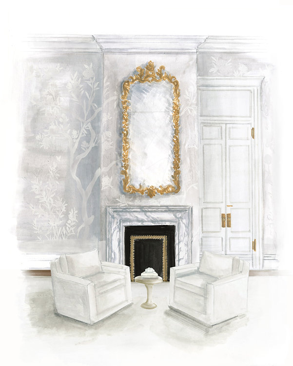 Illustrated armchairs in front of fireplace