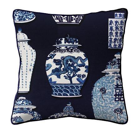 Chinoiserie Chic - Large Velvet Cushion
