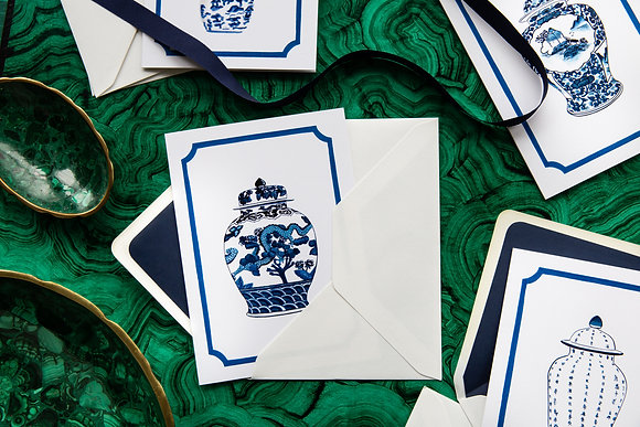Blue & White - Illustrated Greetings Cards
