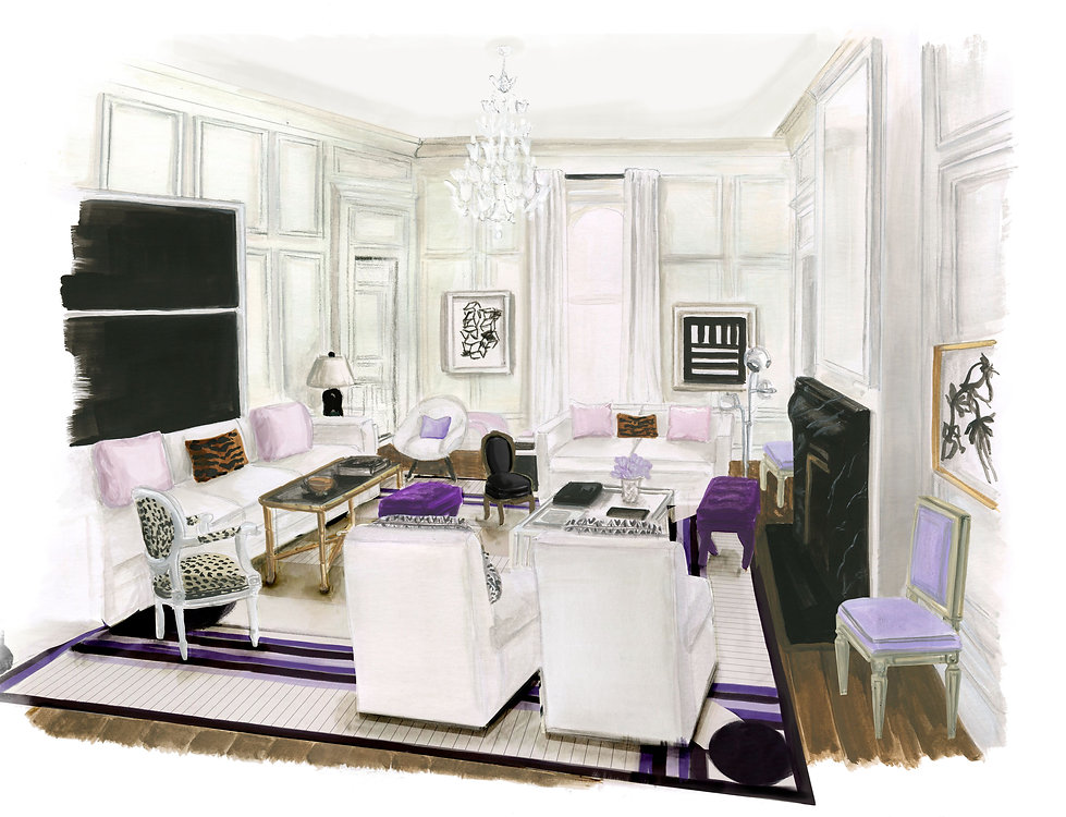Illustrated rendering of a New York apartment