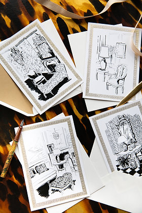 Black & White Interiors - Illustrated Greetings Cards